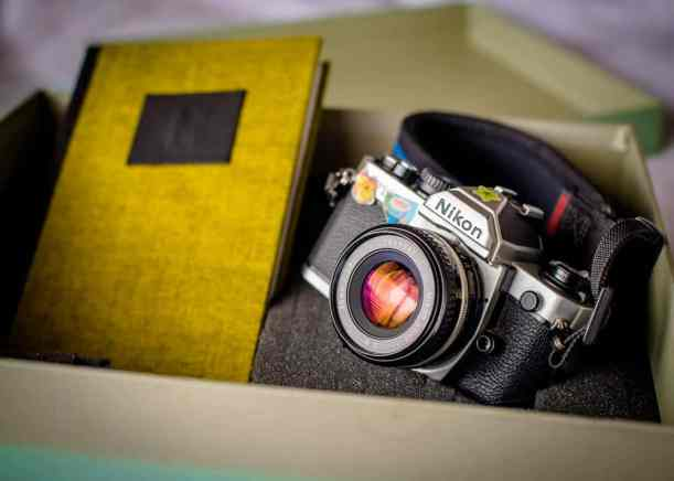 The Box containing the camera and artists notebook