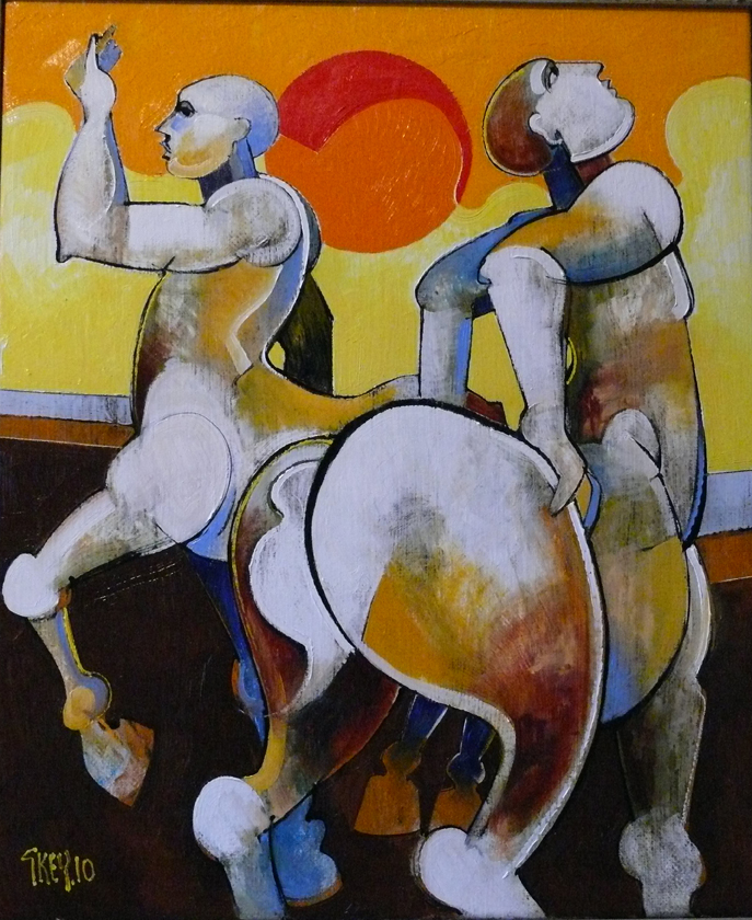 centaurs with red sun, oil 2010