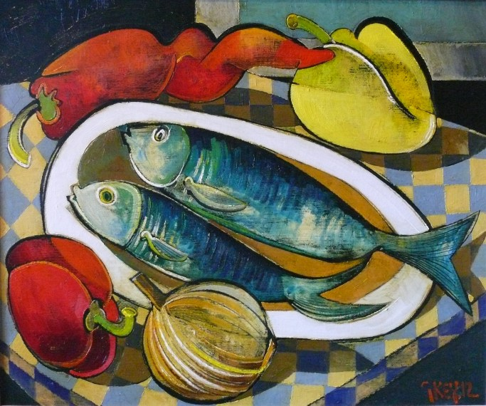 fish with peppers, oil 2012