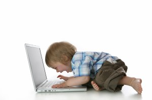 baby shouting at a laptop