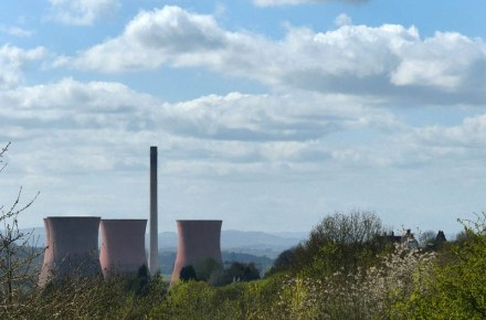 Power station and distant hills