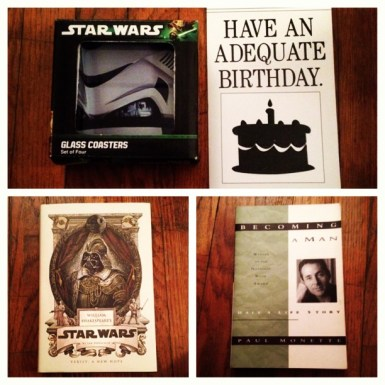Star Wars Coasters, AMAZING birthday card from my grandparents and a Shakespeare's Star Wars and a coming out novel.