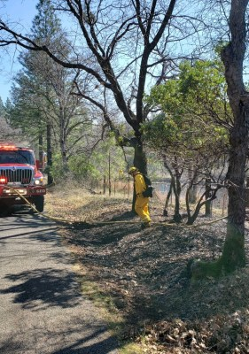 The Georgetown Fire Department responded to our first vegetation fire of the year on Friday