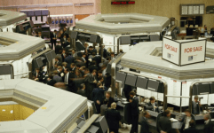 A trading floor on The London Stock Exchange before the Big Bang
