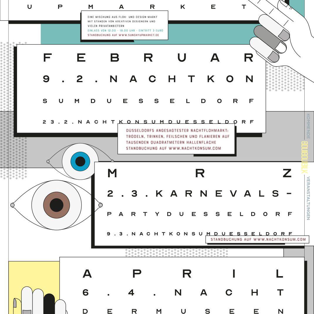 Vectordesign, Schedule, event folder, Lineart, BouiBouiBilk, Düsseldorf, Illustrated Flyer,