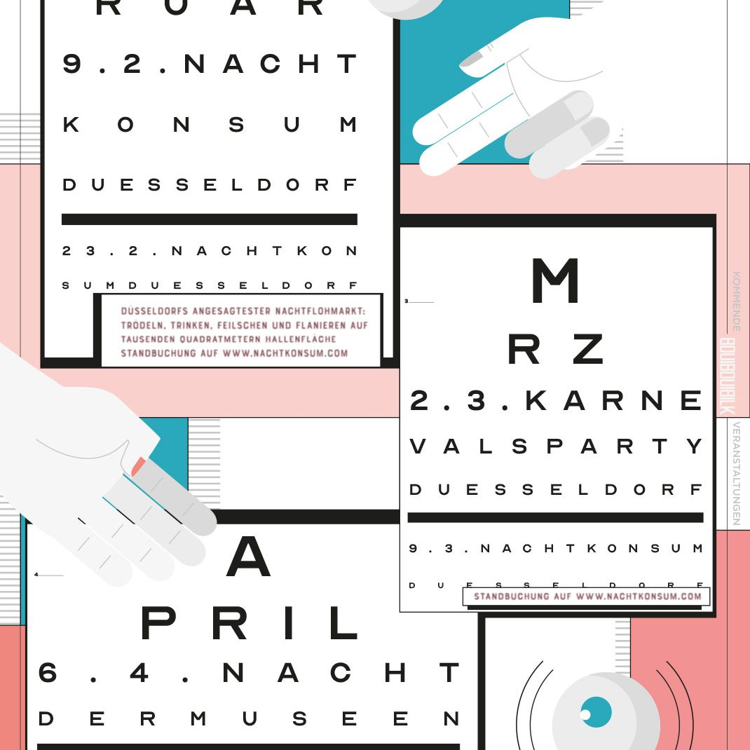 illustrated Schedule, illustrated Folder, Flyer, inner side, 0049events, Boui Boui Bilk, Germany,