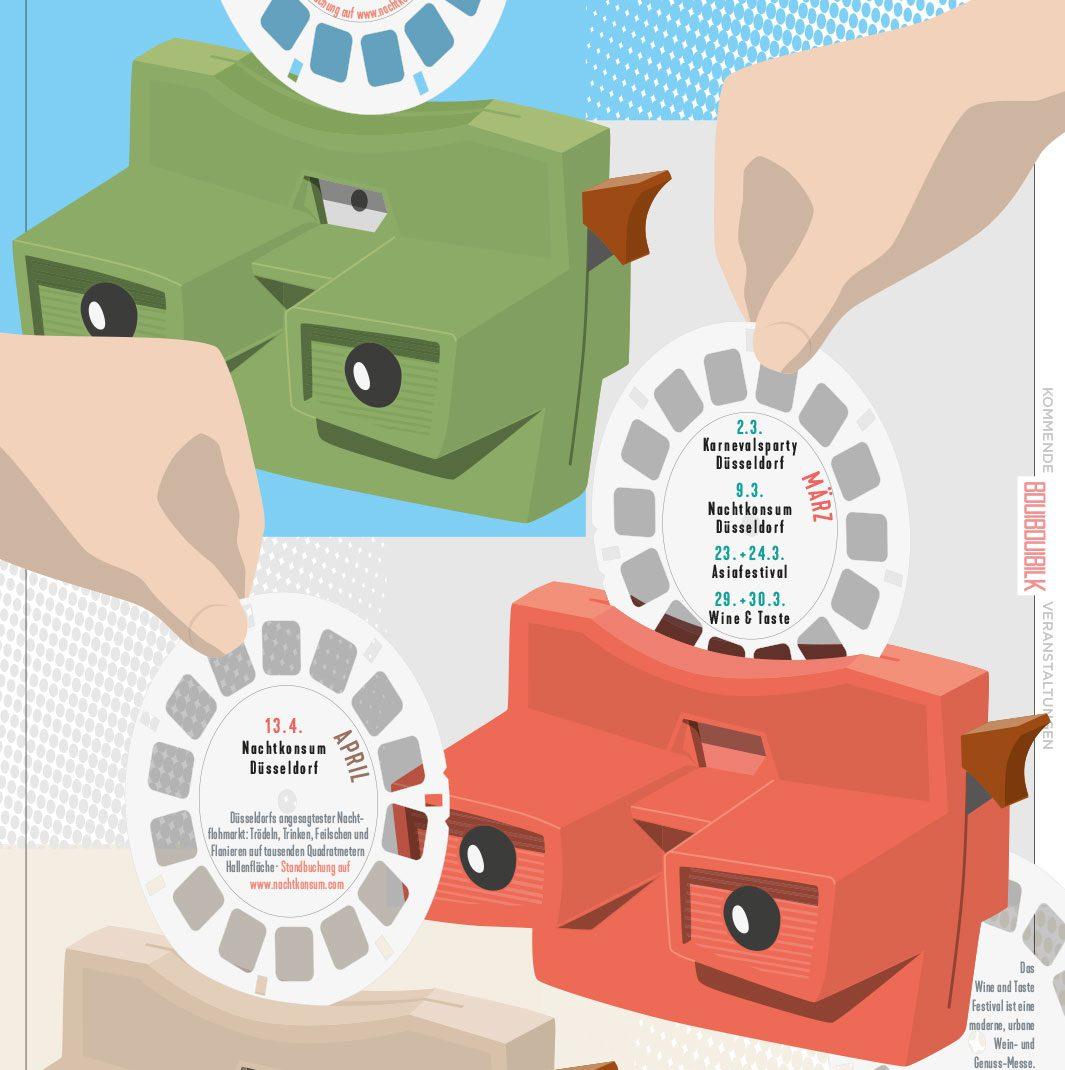 Viewmaster, Slides, Vectordesign, illustrated Schedule, Folder, Flyer, 0049events, Düsseldorf, Germany, BouiBouiBilk,