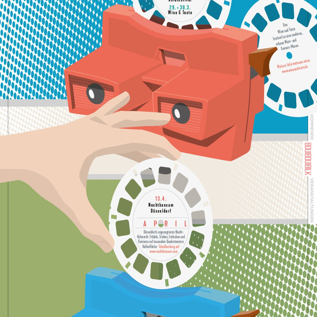 Viewmaster, eyes, Hands, discs, Vectordesign, illustrated Schedule, Folder, Düsseldorf, Germany,