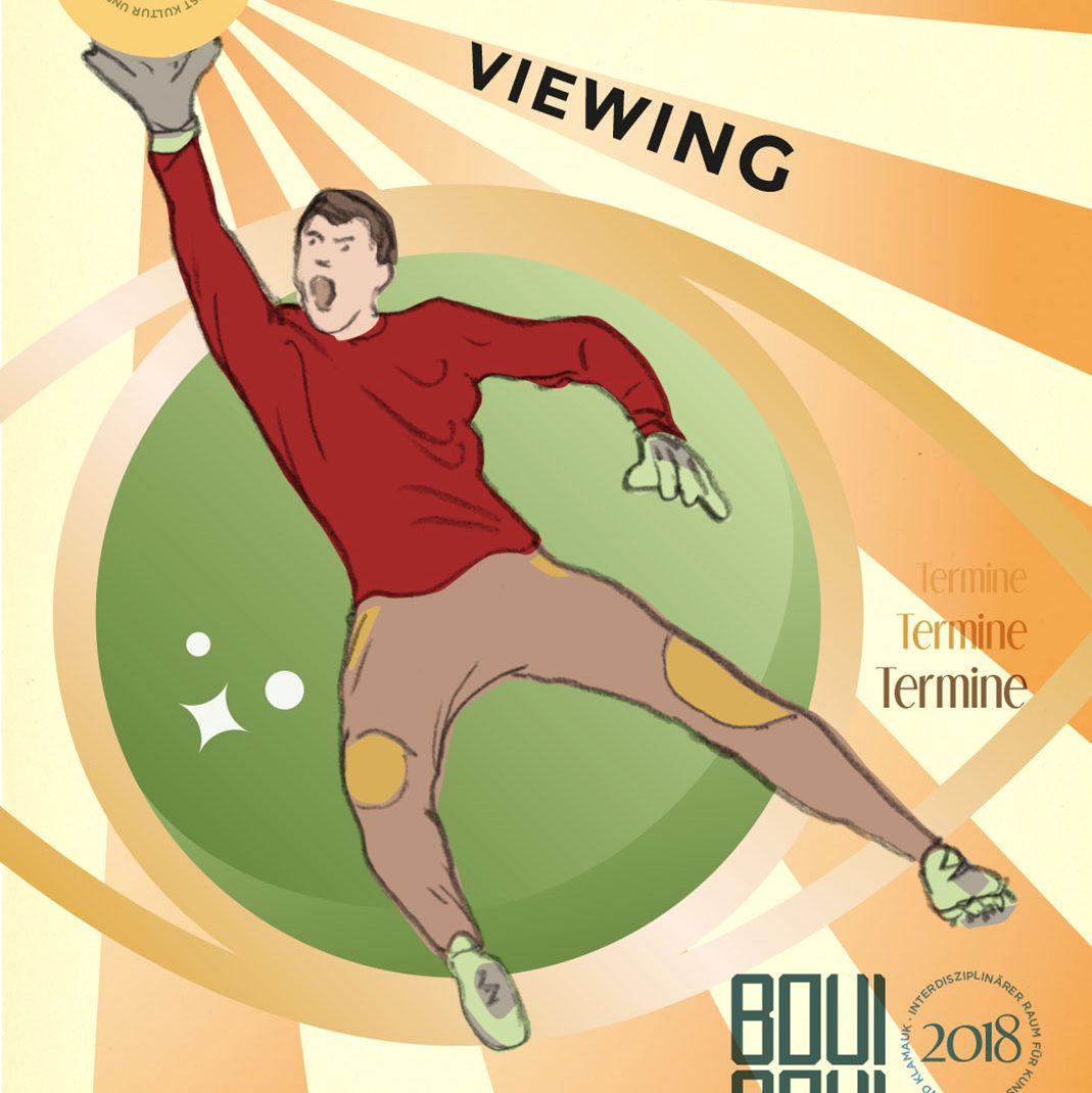 Drawing, goalkeeper, Public Viewing, illustrated Folder, Düsseldorf, schedule, Frontside