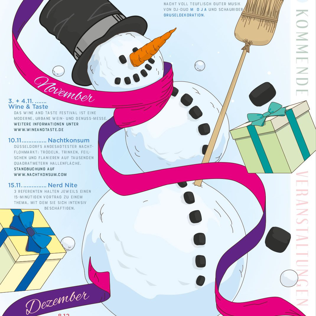 Snowplanet, snowballs, Illustration, vectordesign, folder, event schedule, winter 2018, BBB,,