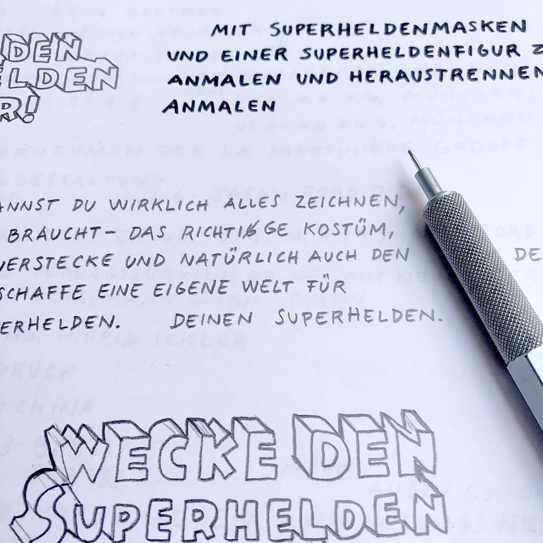 pen and paper, handlettering, superbook, superheroes,