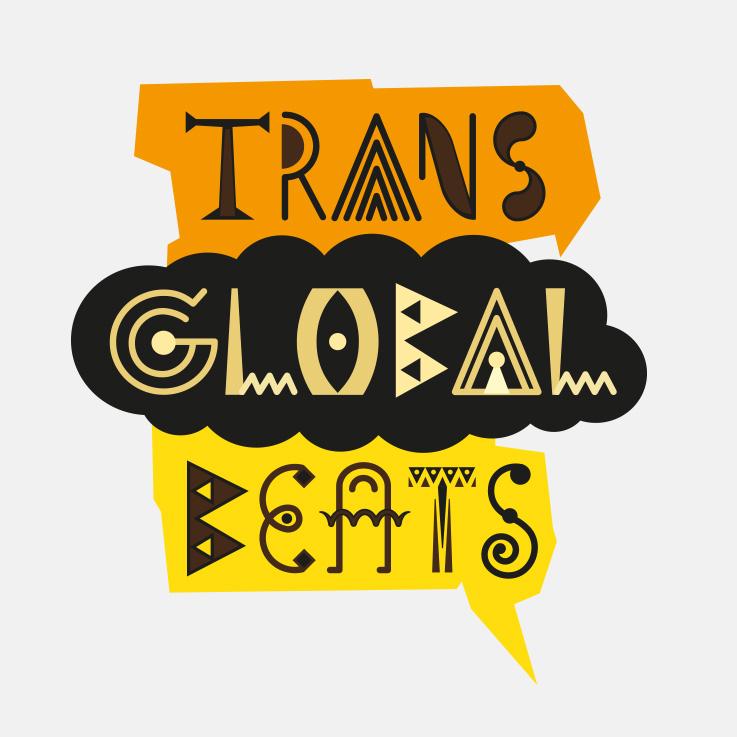 Trans Global Beats, farbig, Schriftmarke, Brand,