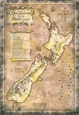 Un pastiche: La Nouvelle Zélande comme la Terre du Milieu, dessinée par Daniel Reeve