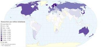 Nombre de chercheurs par population