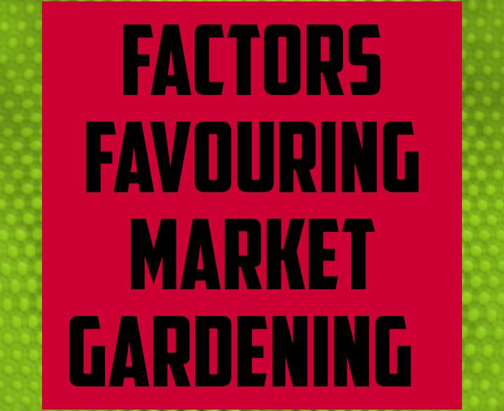 Factors favoring market gardening