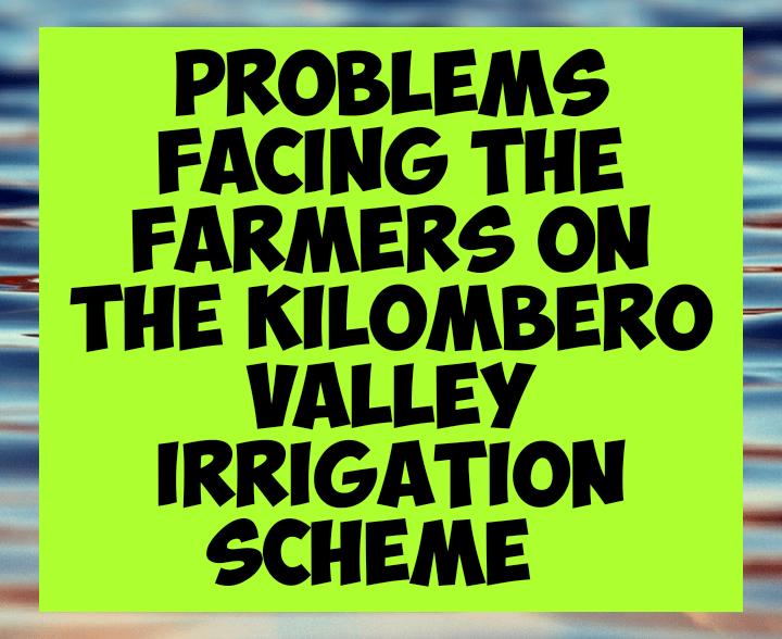 Factors facing farmers in kilombero irrigation scheme