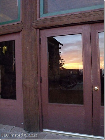 02e Sunset reflected in door of Grand Lodge NR GRCA NP AZ (768x1024)