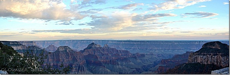 01 Sunset reflected off clouds above temples from Grand Lodge NR GRCA NP AZ pano (1024x331)