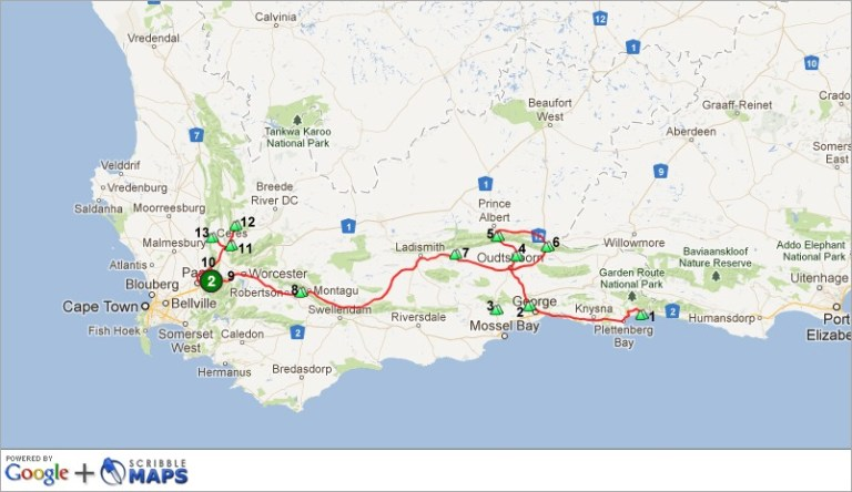 Map of Mt Passes I drove Western Cape SA