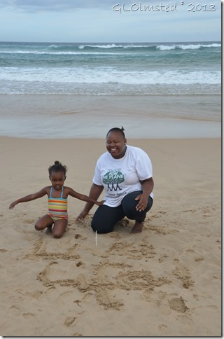 Bongi and Mom on beach at Tsitsikamma National Park Nature's Valley South Africa