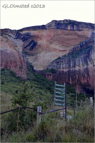 Trail sign along Echo Ravine trail Golden Gate Highlands National Park South Africa
