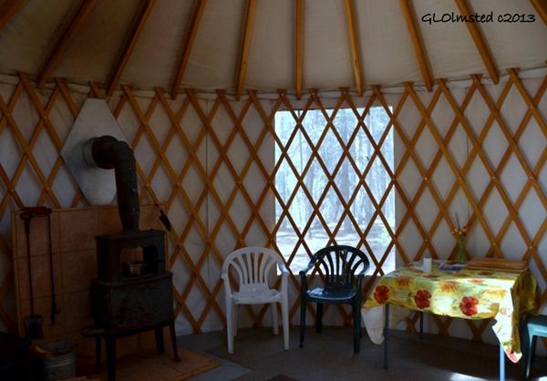 Inside yurt near Kaibab trailhead North Rim Grand Canyon National Park Arizona