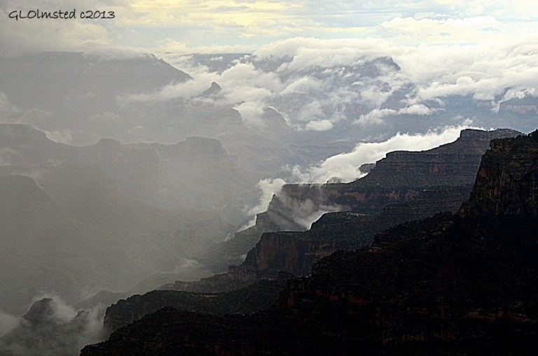 Monsoon clouds in canyon North Rim Grand Canyon National Park Arizona