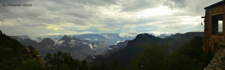 Monsoon clouds in canyon from Lodge North Rim Grand Canyon National Park Arizona