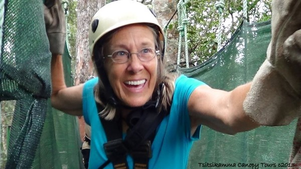 Gaelyn on walkway Tsitsikamma Canopy Tour Storms River South Africa