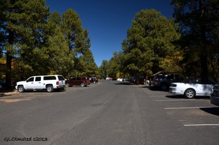 Nearly empty parking lot North Rim Grand Canyon National Park Arizona