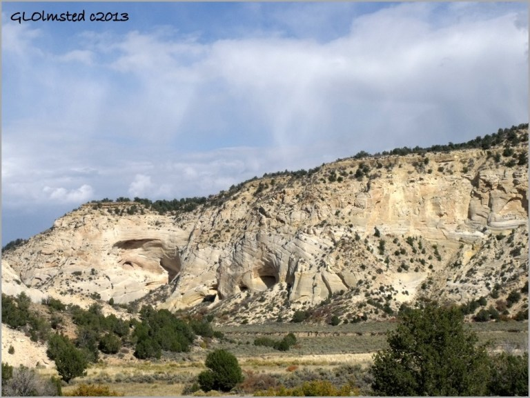 Sandstone buttes with caves along Johnson Canyon Road Grand Staircase Escalante National Monument Utah