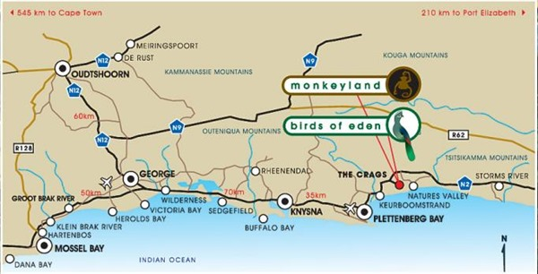 Monkeyland on map southern coast Eastern Cape South Africa