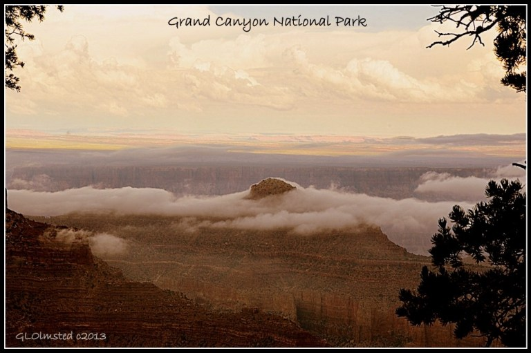 Clouds in the canyon from Cape Royal North Rim Grand Canyon National Park Arizona
