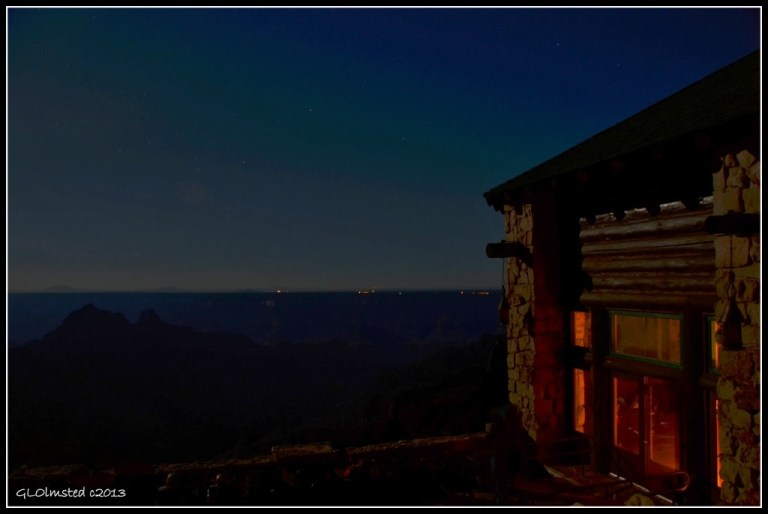 Night sky & South Rim lights from Lodge North Rim Grand Canyon National Park Arizona