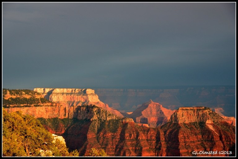 Last lght on temples North Rim Grand Canyon National Park Arizona