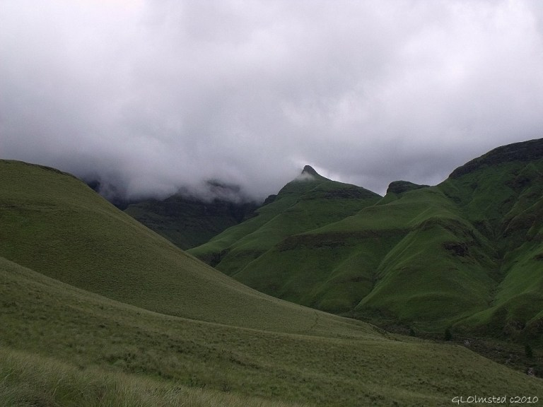 Clouds over the mountains Drakensburg hike KwaZulu-Natal South Africa