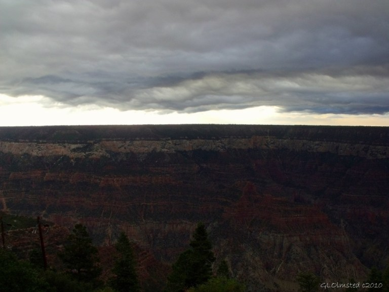 Low clouds over Roaring Springs canyon North Rim Grand Canyon National Park Arizona