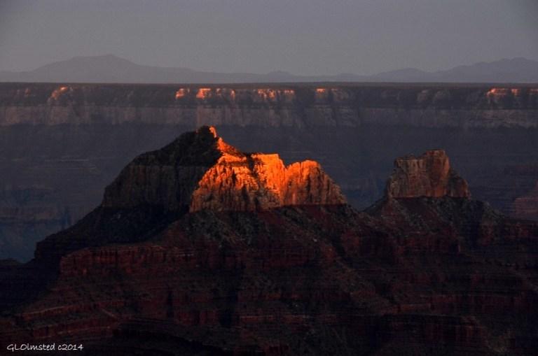 Last light on Brahma temple North Rim Grand Canyon National Park Arizona