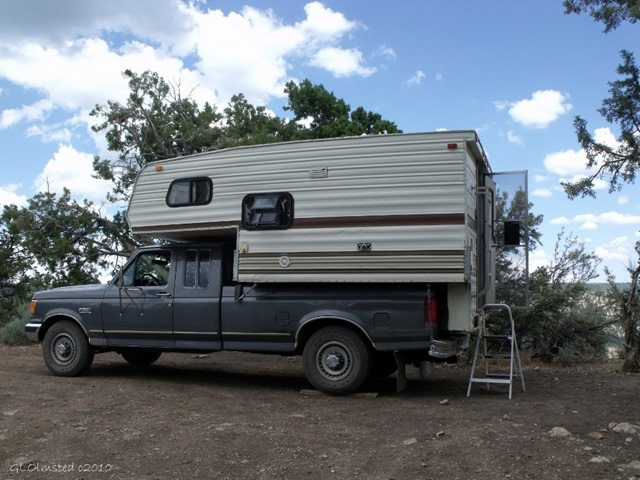 Truck camper at Crazy Jug Point FS292 Kaibab National Forest Arizona