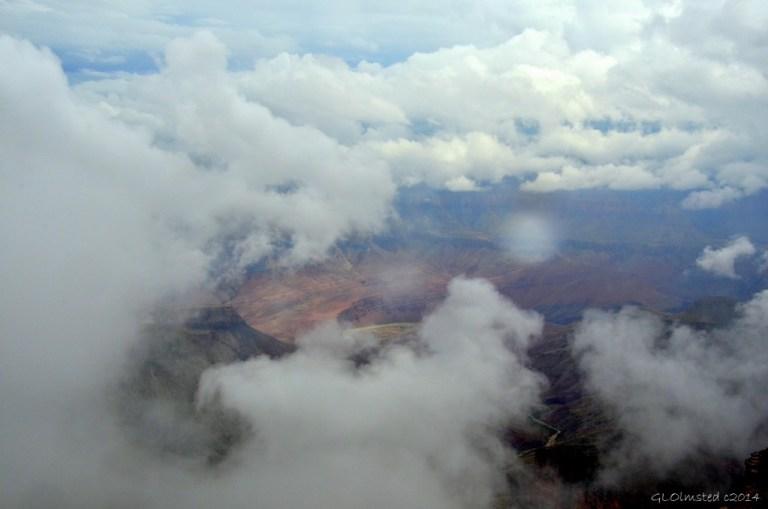 Cloudy view of canyon Walhalla Plateau North Rim Grand Canyon National Park Arizona