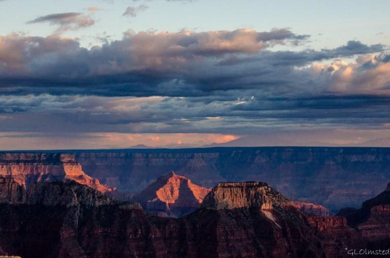 Sunset light on temples North Rim Grand Canyon National Park Arizona