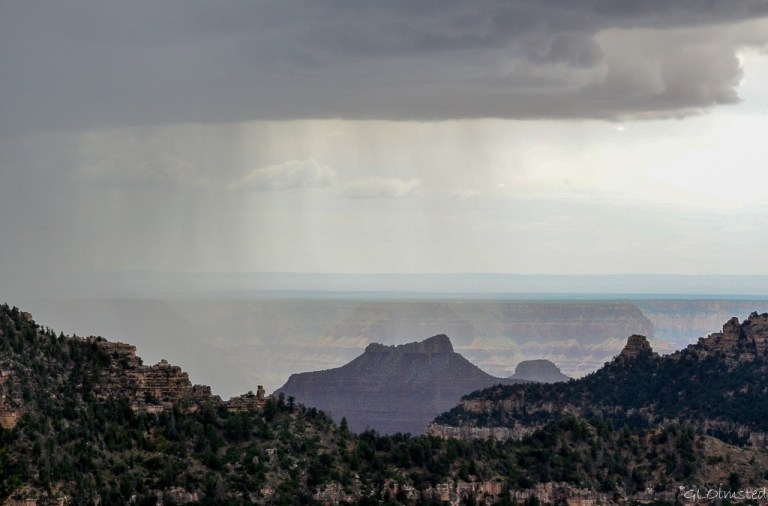 Raining in canyon from Grand lodge North Rim Grand Canyon National Park Arizona