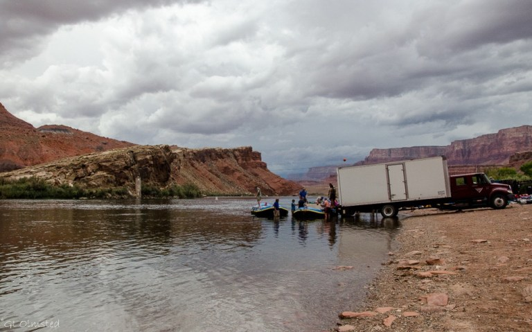 Rafts launching at Lees Ferry Glen Canyon National Recreation Area Arizona