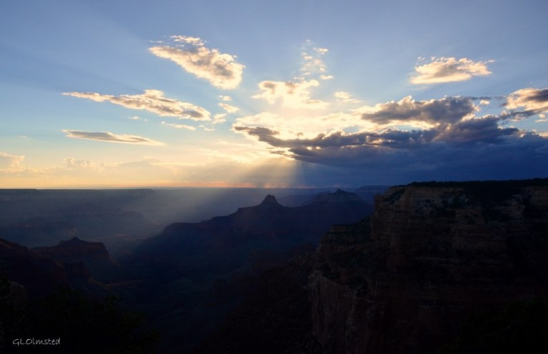 Sunset rays on Zoroaster & Brahma temples from Cape Royal North Rim Grand Canyon National Park Arizona