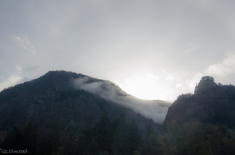 Low clouds on Mountains Columbia River Gorge I84 Oregon