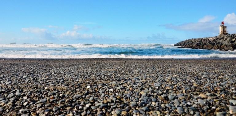 Pebble beach by jetty Bandon Oregon