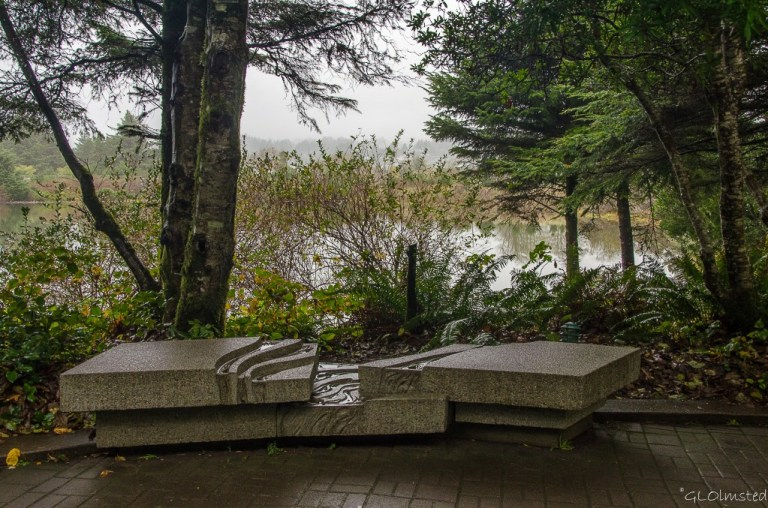 Bench by estuary Oregon Coast Aquarium Newport Oregon