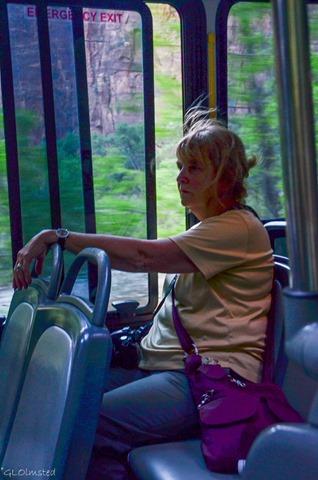 Pat on shuttle Zion National Park Utah
