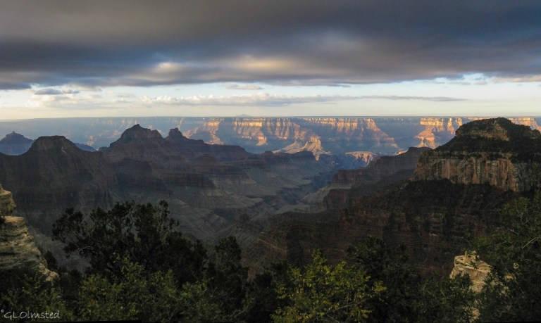 Morning light over Bright Angel Canyon from Lodge North Rim Grand Canyon National Park Arizona
