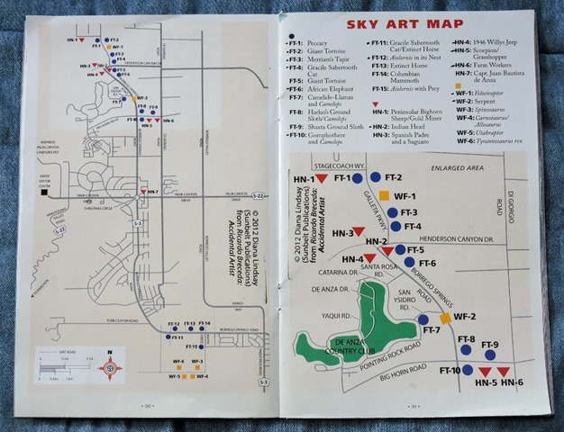 Sky Art map Galleta Meadows metal sculptures Borrego Springs California